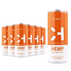 clēēn:craft | Mood-Boosting, Non-Alcoholic Premium Sparkling Hemp Drink, Organic Non-GMO Flavors, Add to Cocktails, Low Calorie & Caffeine-Free, Plant-Based Nootropic Beverage (Ginger, 12-Pack)
