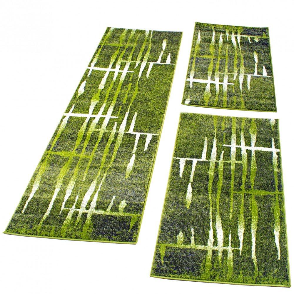 PHC Bettumrandung Läufer Teppich Meliert Design Grün Creme Läuferset 3 Tlg, Grösse 2mal 70x140 1mal 70x250