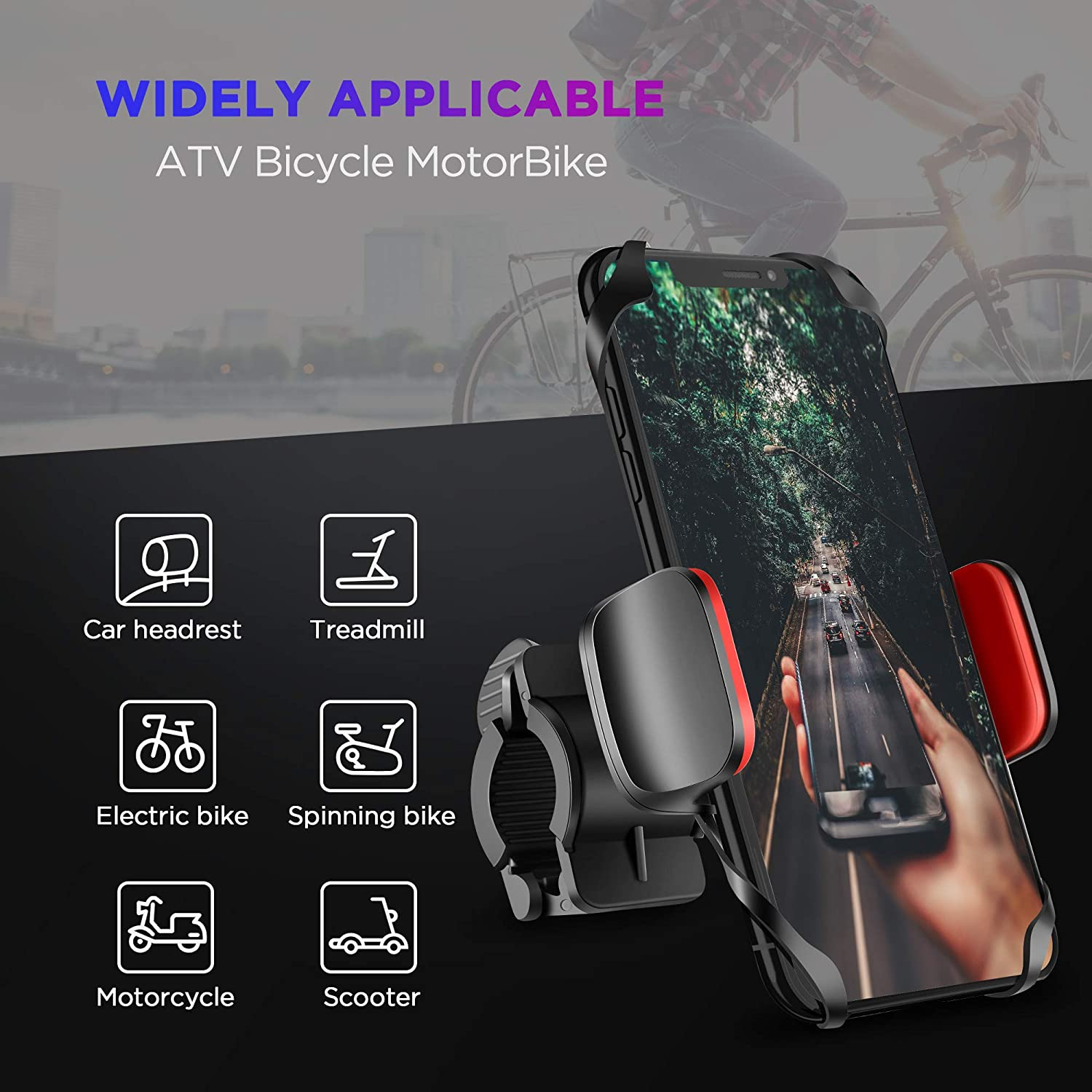 IPOW Upgrade Unbreakable Metal Base Bike Motorcycle Cell Phone Mount /& Handlebar Smartphone Holder with Shock-Absorbing Padding Universal Bicycle Motorbike ATV Compatible with iPhone GPS etc 4350352772 Samsung