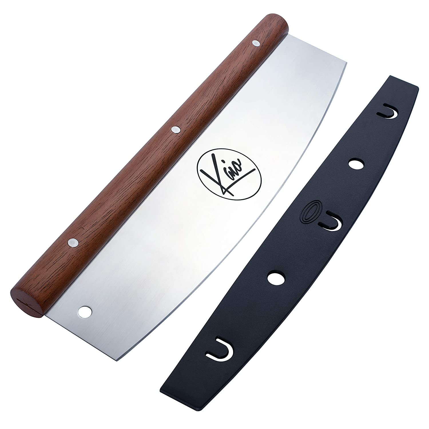 the Pizza Cutter by Kaiopizza , Heavy Duty 18/0 Silver with Mahogany Wood handle Pizza Knife, Pizza Slicer Rocker Knife with Protective Cover , Comfortable Grip , 13.75 x 4.2 x 1.1 inch, Cuts Pizzas…