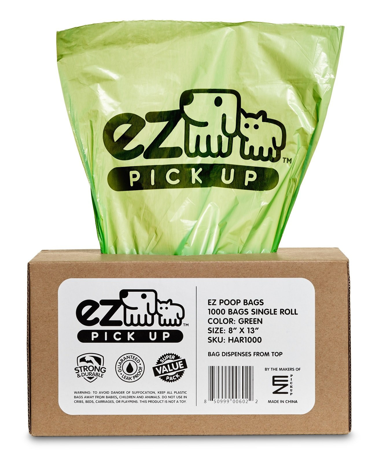 1000 Pet Waste Disposal Dog Poop Bags, EZ Pickup Bags Green (single roll, not on small rolls)