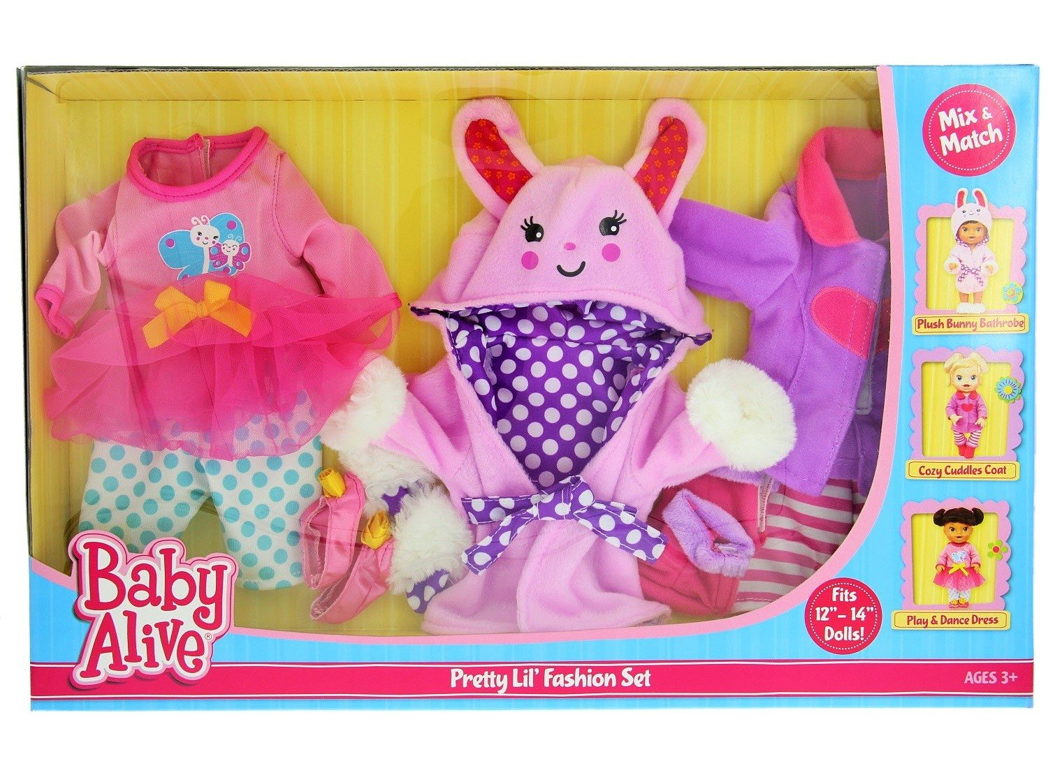 "6c102635fed71 Amazon.com: Baby Alive Pretty Lil Fashion Clothing Set – Features 3 Outfits,  Makes Perfect Accessories for your 12-14"" Dolls: Toys & Games"