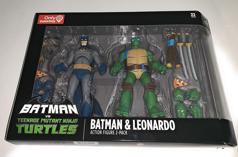 Amazon Com Dc Collectibles Batman Vs Tmnt Batman Leonardo Toys Games