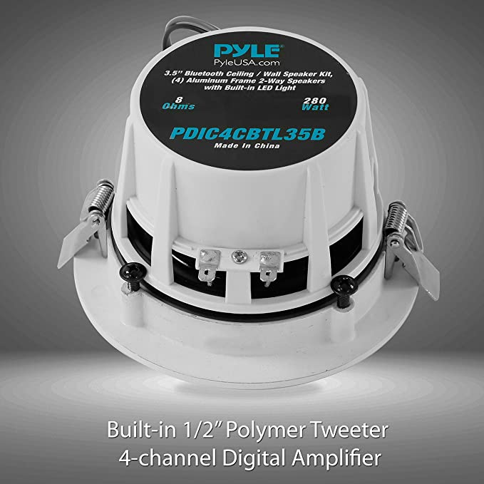 Pyle Bluetooth 4 Ceiling/Wall Speaker Kit with Aluminum Frame 2-Way  Speakers and Built-in LED Lights