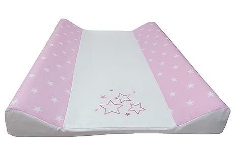 Babymajawelt® Colchón cambiador para bebé - 2 cuñas STARS + 50 x 70 cm funda de algodon (rosa)