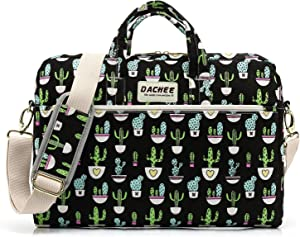 DACHEE Black Cactus Pattern 15 inch Canvas Waterproof Laptop Shoulder Messenger Bag for 15.6 inch Laptop 15 Laptop Case