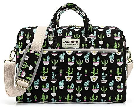Image Unavailable. Image not available for. Color  DACHEE Black Cactus  Pattern 15 inch Canvas Waterproof Laptop Shoulder Messenger Bag ... 2134a93412