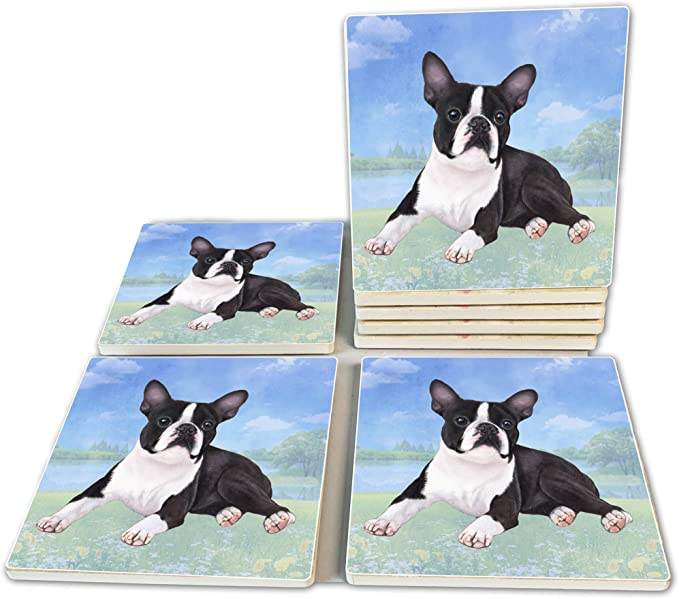Boston Terrier Coasters Moisture Absorbing Stone Coasters With Cork Base Prevent Furniture From Dirty And Scratched Stone Coasters Set Suitable For Kinds Of Mugs And Cups Set Of 4