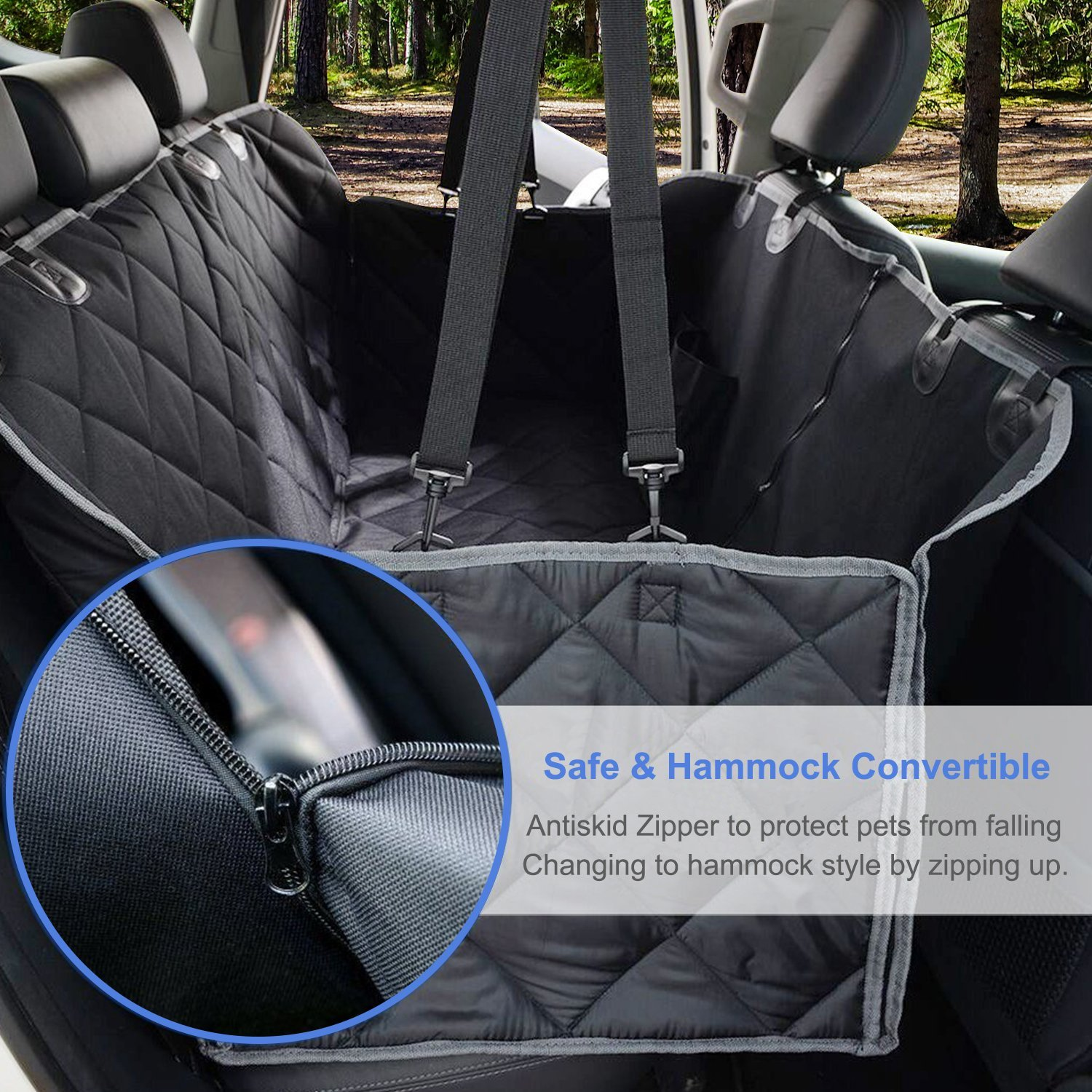 GELOO Bench Car Seat Cover Protector Waterproof, Heavy-Duty and Nonslip Pet Car Seat Cover for Dogs with Universal Size Fits for Cars, Trucks & SUVs by GELOO (Image #4)