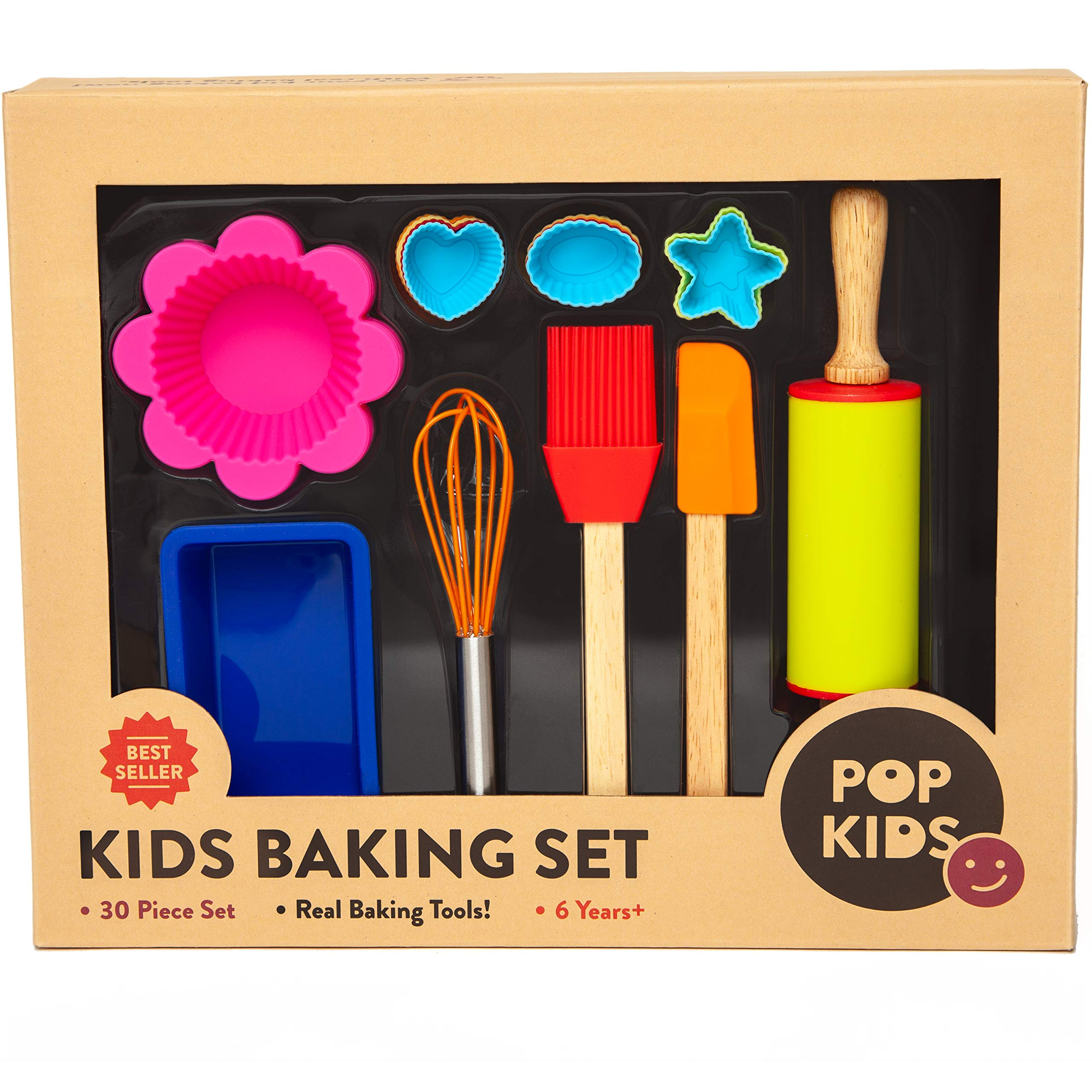 Pop Kid S 30 Piece Real Nonstick Bakeware And Cooking Set With Silicone Cupcake Molds Spatula Whisk Rolling Pin Cake Pan For Learning Real Cooking And Baking Tools Great Gift For Curious Beginners Buy