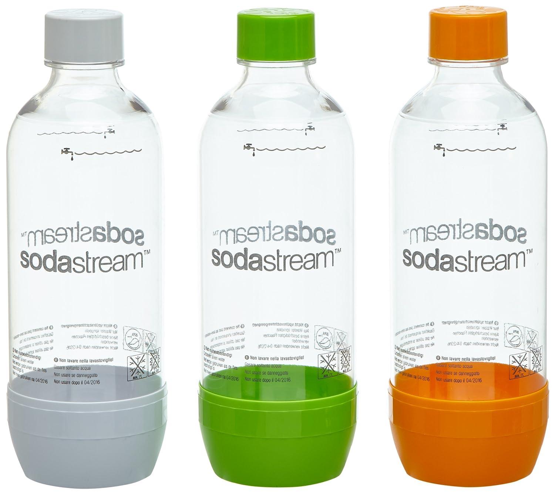 SodaStream Pet-Flasche 2 + 1, orange/grün/weiß aus bruchfestem kristallklarem PET und frei von BPA!  ideal für Schule, Sport, Freizeit 1041340490