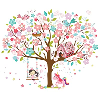 Kath & Cath Rainbow Unicorn, Pink Fairy, Gingerbread House, Singing Birds and Cherry Blossoms Tree Wall Stickers -Kids Girls Room Vinyl Removable Self-Adhesive Multi-Colour Wall Mural Art Decoration: Home & Kitchen