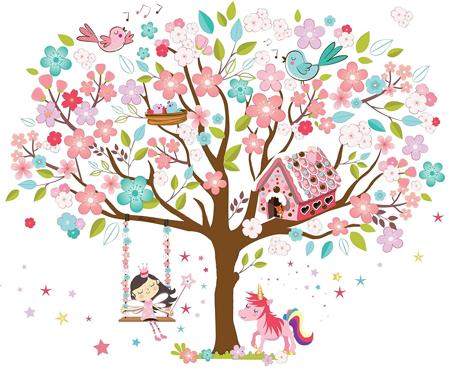 Kath Cath Rainbow Unicorn Pink Fairy Gingerbread House Singing Circuit Board Tree Vinyl Wall Art Graphic Stickers Decals Birds And Cherry Blossoms Kids Girls Room Removable Self Adhesive Multi Colour Mural Home