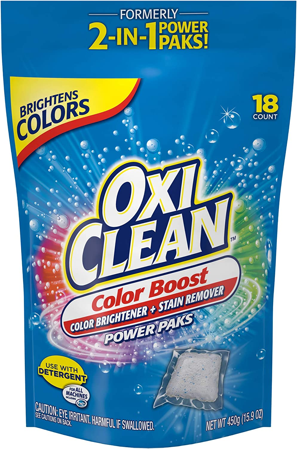 OxiClean Color Boost Color Brightener plus Stain Remover Power Paks, 18 Count