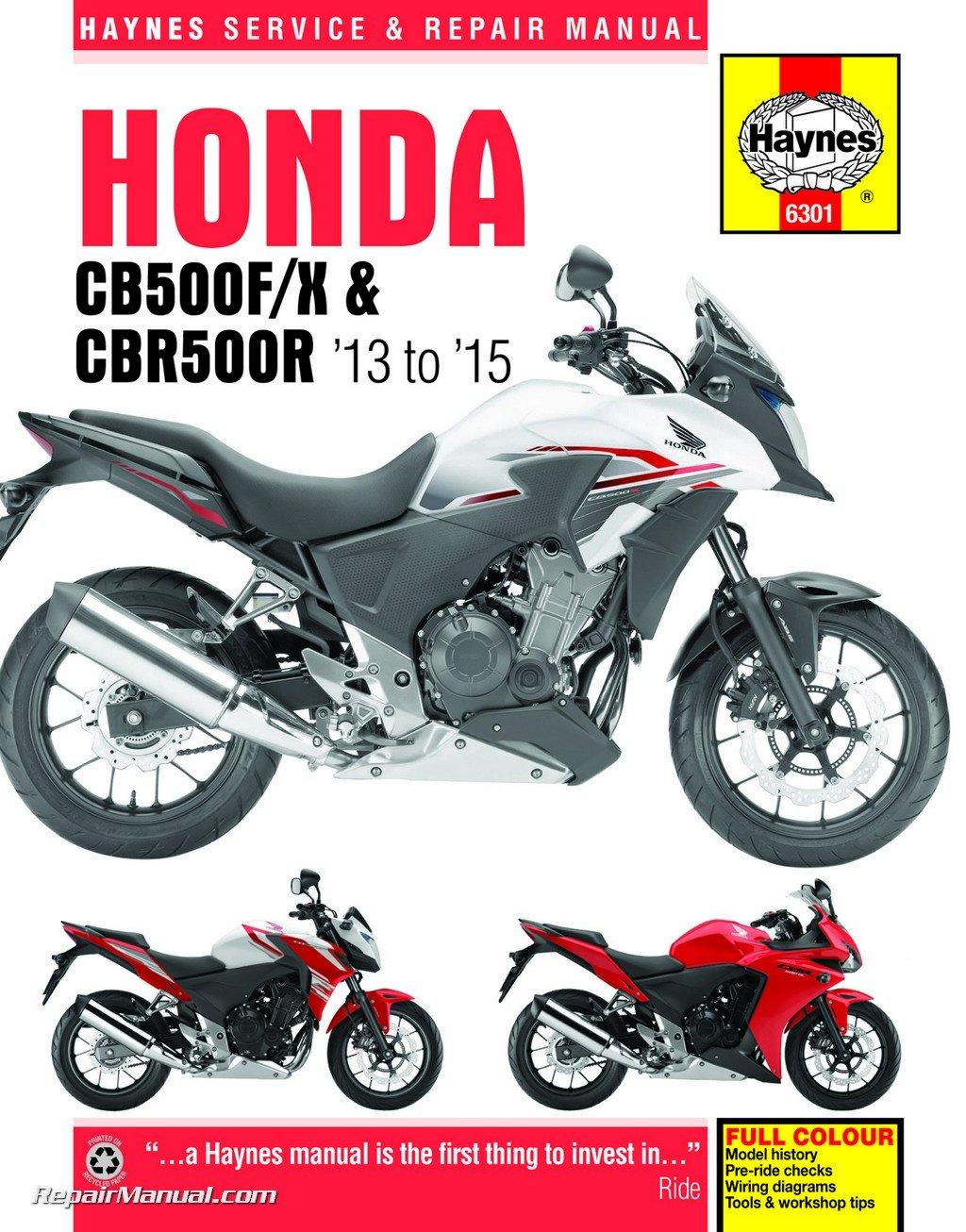 h6301 2013-2015 honda cb500f, cb500x & cbr500r haynes motorcycle repair  manual paperback – 2004