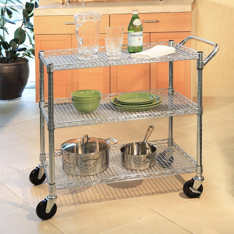 Seville Classics UltraDurable Commercial-Grade 3-Tier NSF Utility Cart