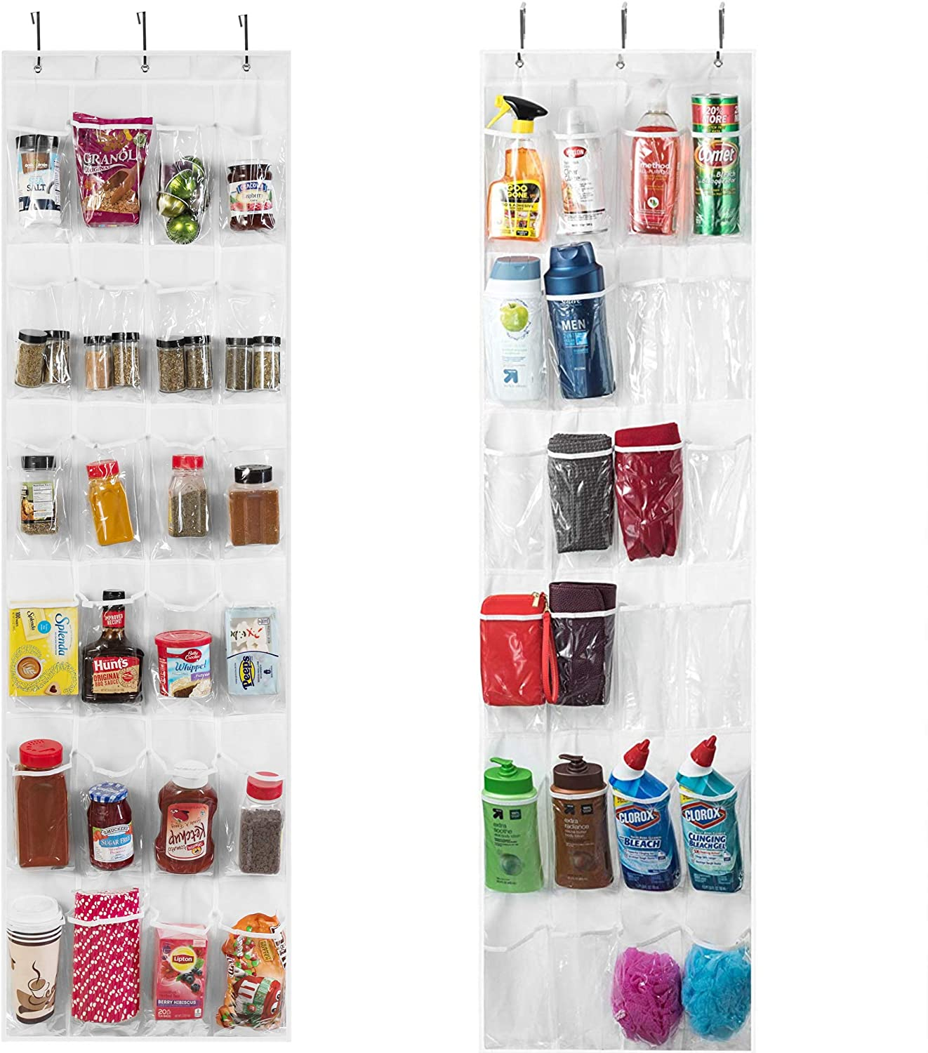 Over The Door Pantry Organization and Storage, Pantry Door Organizer, Spice Rack Organizer for Cabinet, Hanging Spice Rack, K Cup Holder, Shoe Rack, Heavy Duty Door Rack with Strong Metal Hooks (2 Pk)