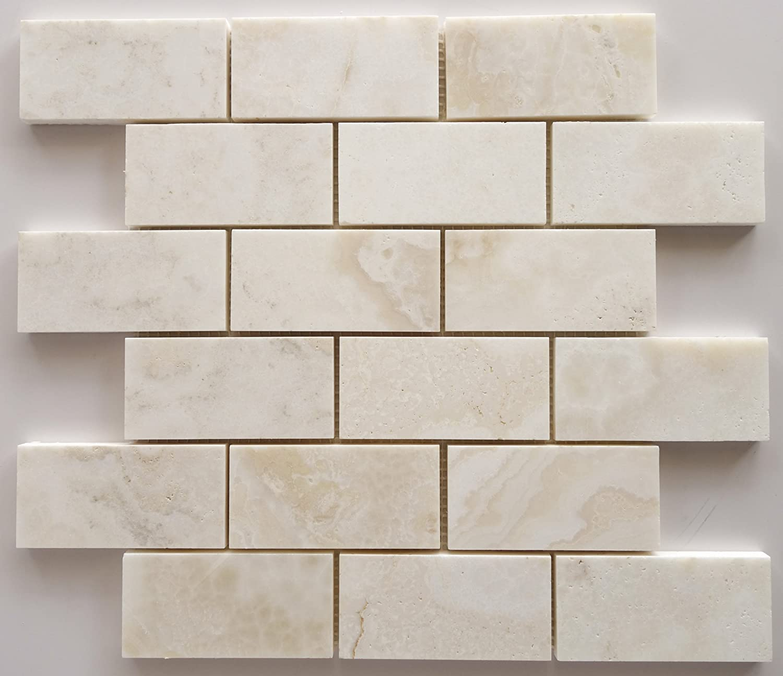 Premium White Onyx CROSS-CUT 2 X 4 Polished Brick Mosaic Tile - SAMPLE 60%OFF