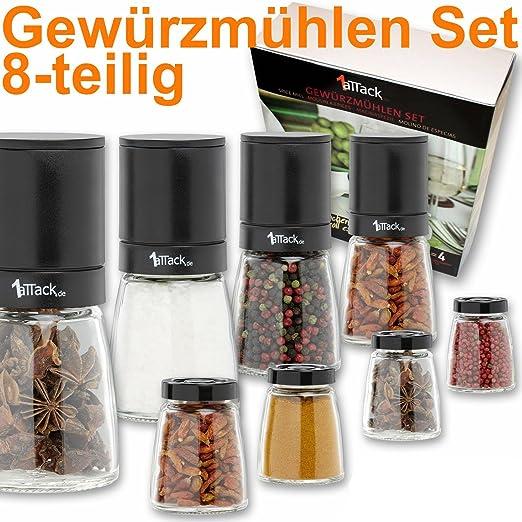 Gewürzmühlen  Pfeffermühle Salzmühle Gewürzmühle unbefüllt mit Keramik Mahlwerk ...