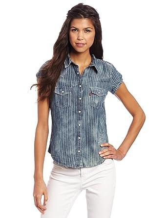 0729e4fc3e Levi's Juniors Short Sleeve Western Shirt, Sky Stripe, X-Small at ...
