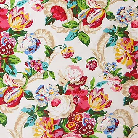 Amazon Com Spring Green Pink Red Chintz Floral Cotton Made In Usa
