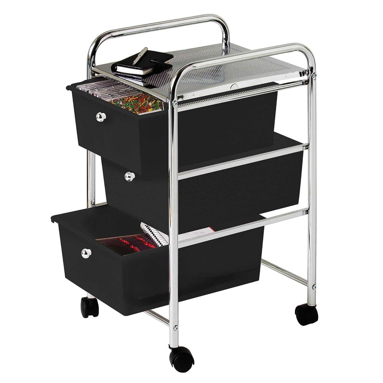 Premier Housewares - Carrito para almacenaje (3 cajones, bastidor de cromo, 65 x 39 x 33 cm), color negro: Amazon.es: Hogar