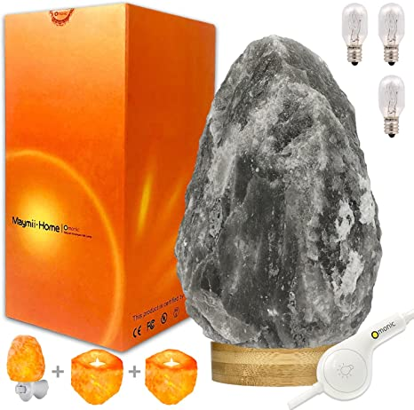 Very Rare Large 8 13lbs Grey Gray Black White Authentic Himalayan Salt Lamp Lights Table Lamp Platin Base Touch Dimmer Switch Control With 1 Salt