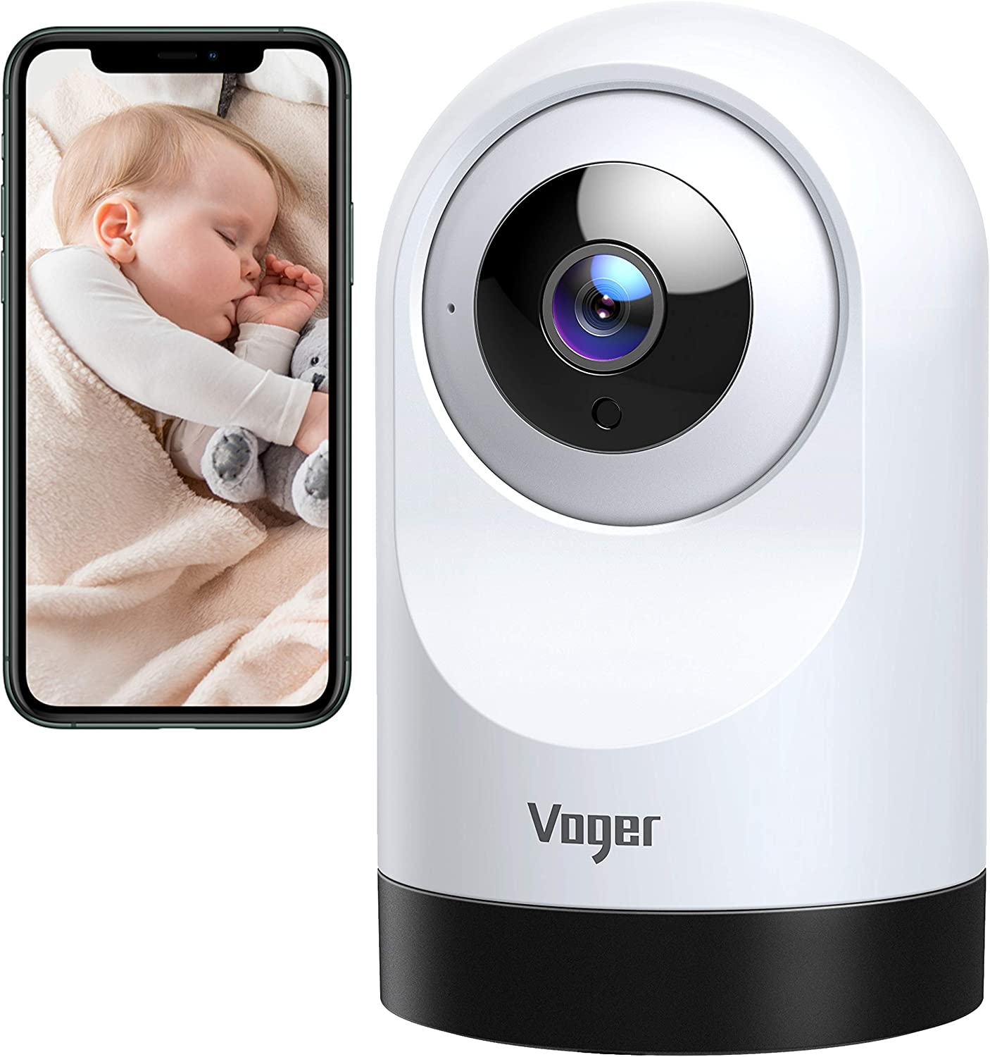 Voger Baby Monitor, 360-degree Wi-Fi Home Security Camera, PTZ Indoor Camera with 1080P IR Night Vision, Motion Tracking, 2-Way Audio, Works with Alexa