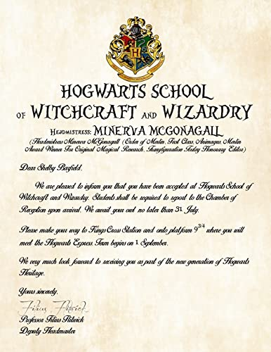 personalized harry potter acceptance letter hogwarts school of witchcraft and wizardry headmistress minerva mcgonagall