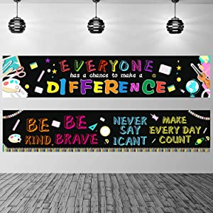 2 Pack Inspirational Classroom Banner Positive Banner for Students Classroom Decration School Party Posters