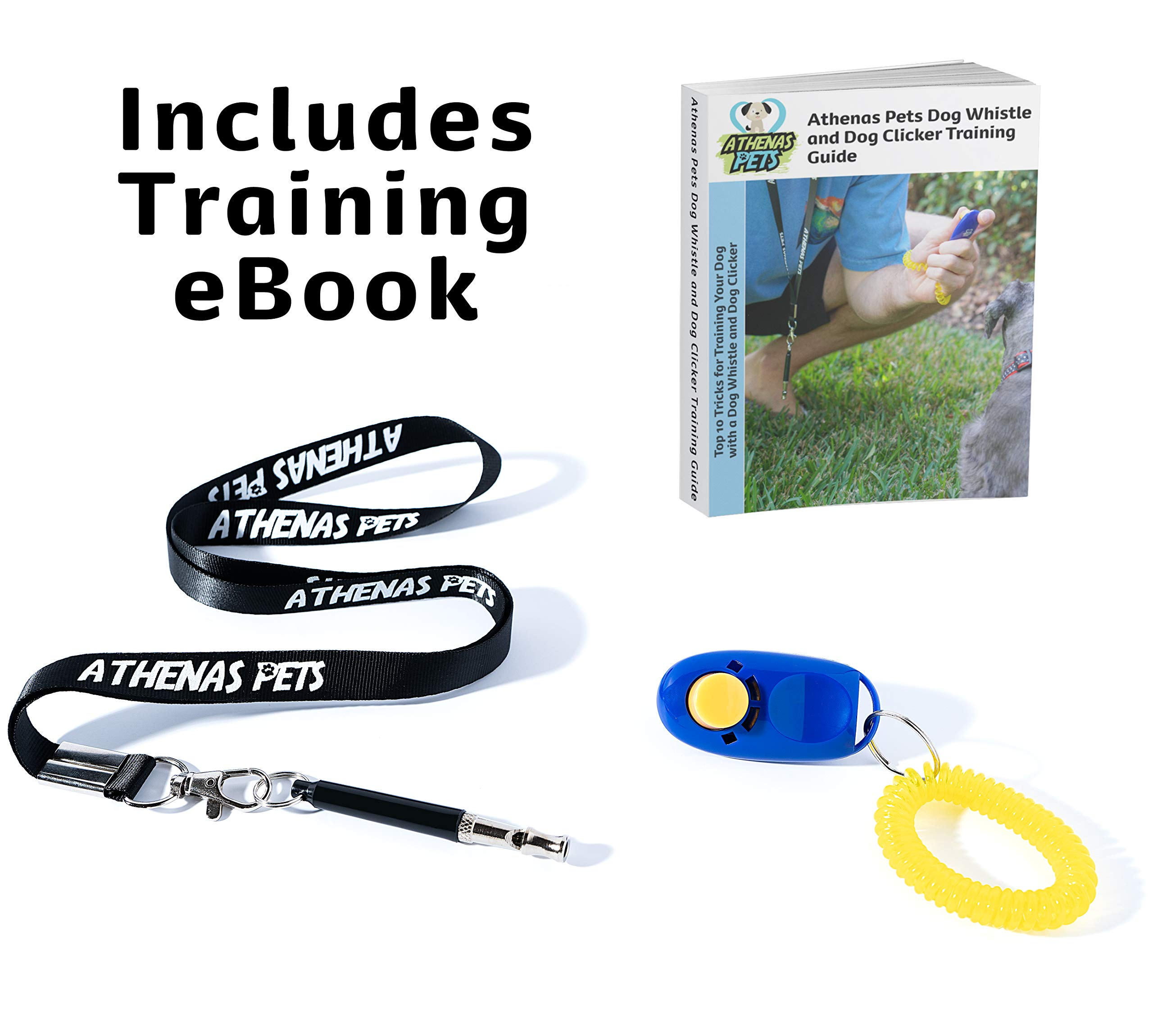 Athenas Pets Adjustable High Frequency Ultrasonic Dog Whistle to Stop Barking with Lanyard and Dog Clicker for Training - Includes Dog Training Whistle and Training Clicker Guide eBook by Athenas Pets