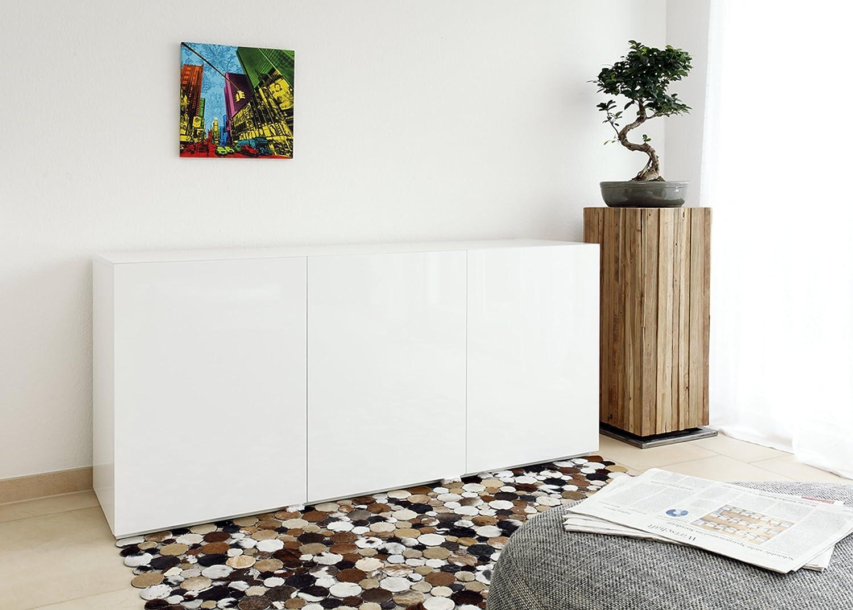 SalesFever Side-Board in weiß Hochglanz aus MDF-Holz mit 3 Türen 170x45 cm fürs Wohnzimmer   Tiro   Modernes Low-Board 3-türig   Design Kommode Weiss lackiert 170cm x 45cm dekoriert Ihr Schlafzimmer