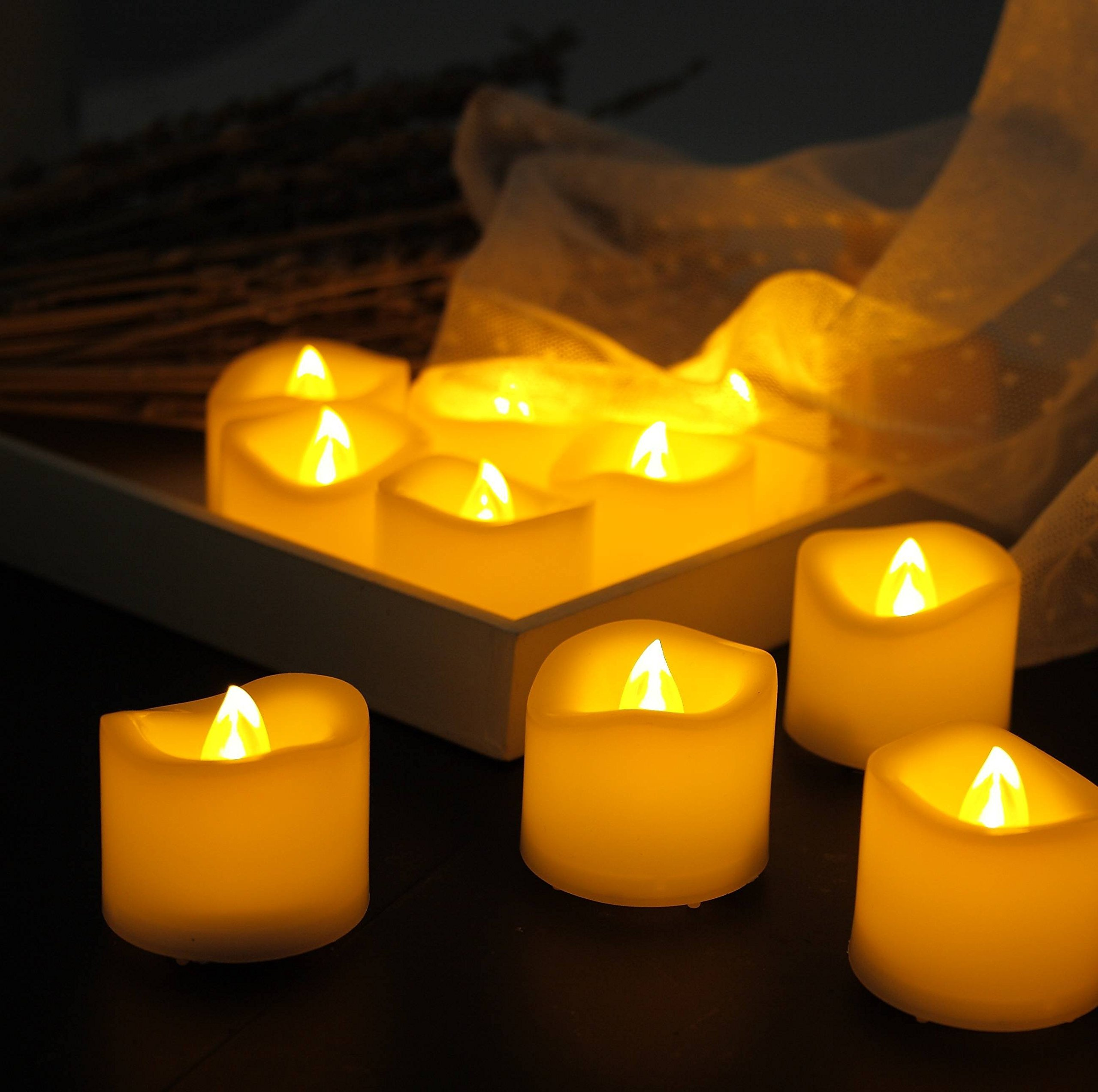 """Any-door 12-Pack Flameless LED Votive Candles Timing Function Battery Included 1.5""""X1.5"""""""