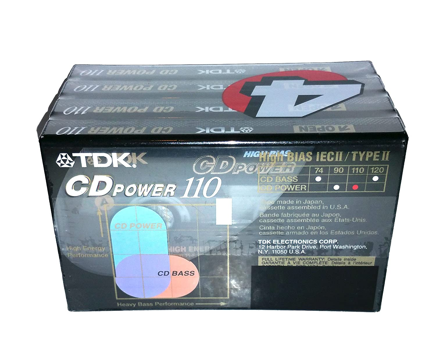 Amazon.com: 4-pack TDK Cd Power 110 Type Ii (Cro2) High Bias New Blank Audio Cassette Tapes: Home Audio & Theater