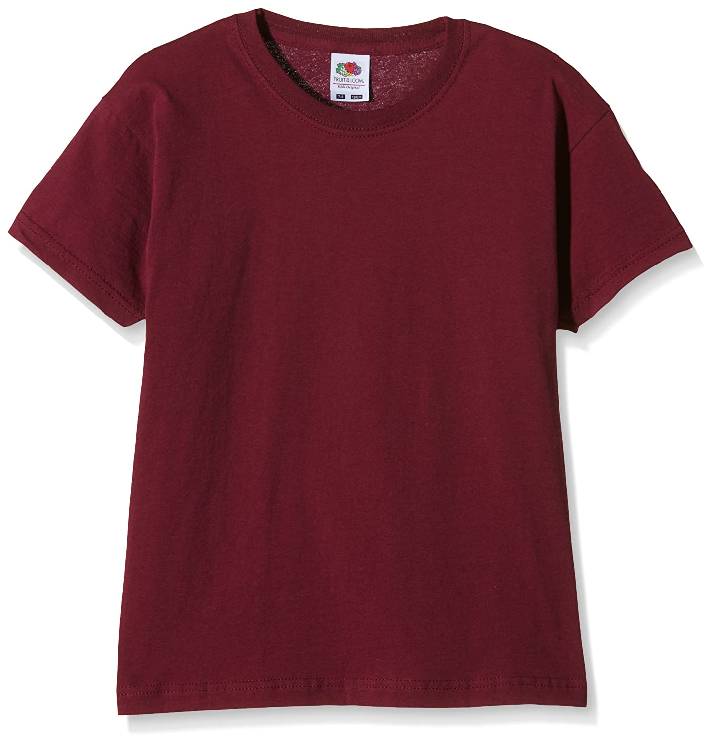 Manufacturer Size:30 Fruit of the Loom Unisex Kids Original T T-Shirt Burgundy 7-8 Years