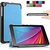 Huawei MediaPad T1 7.0 ケース Infiland Huawei MediaPad T1 7.0 カバー 超薄型 超軽量 三つ折りスタンドカバー 高級PU レザーケース(ブルー)