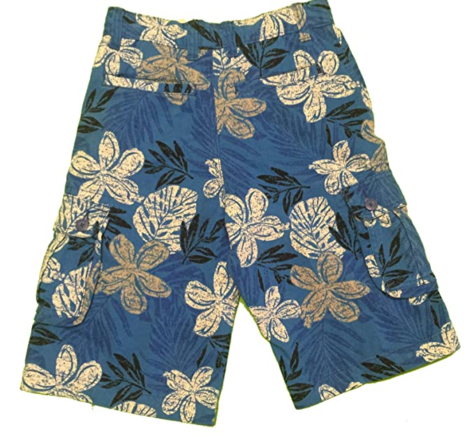 412f2fb456 Image Unavailable. Image not available for. Color: Faded Glory Boy's Cargo  Shorts Tropical Floral 14 Blue