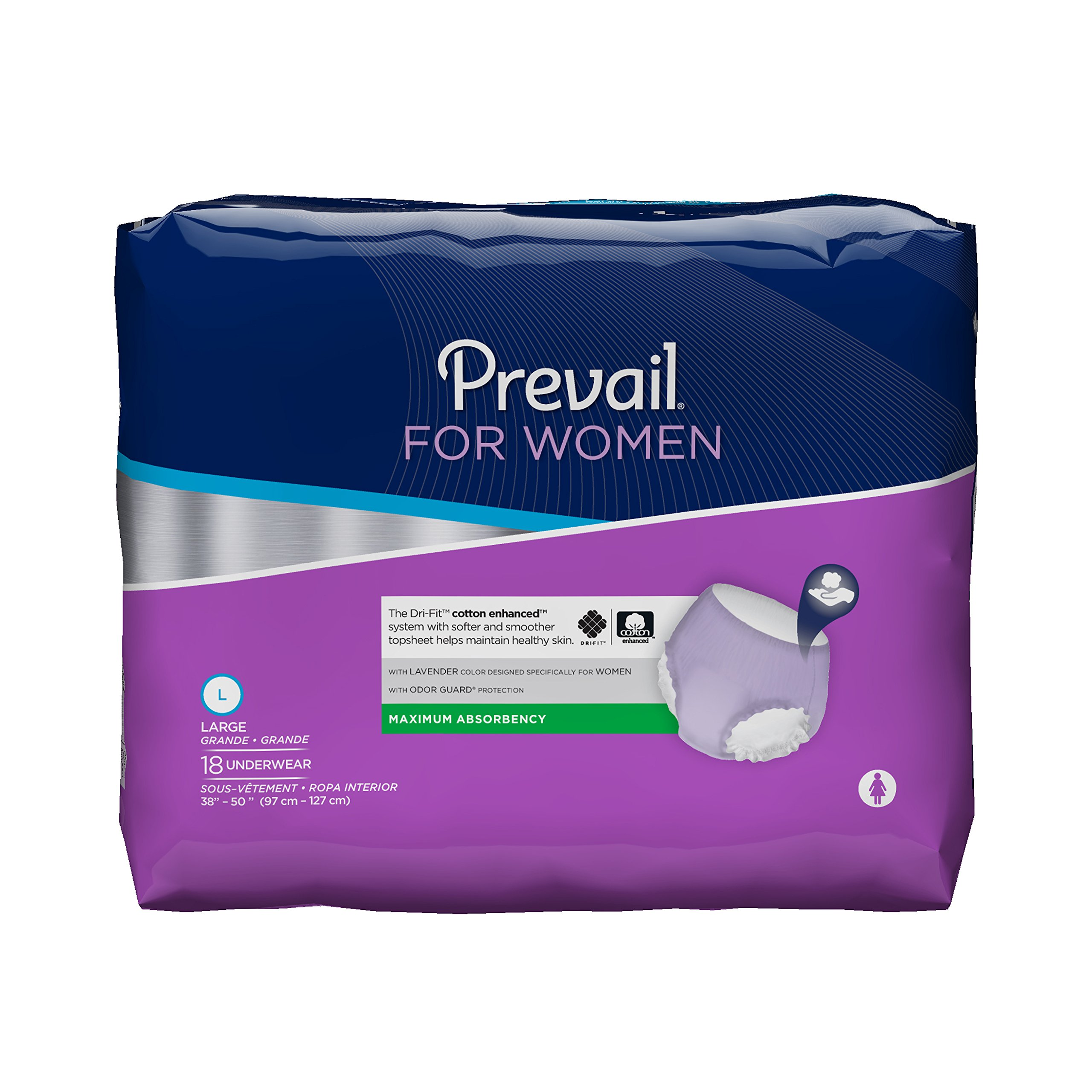 Prevail Maximum Absorbency Incontinence Underwear for Women, Large, 18-Count