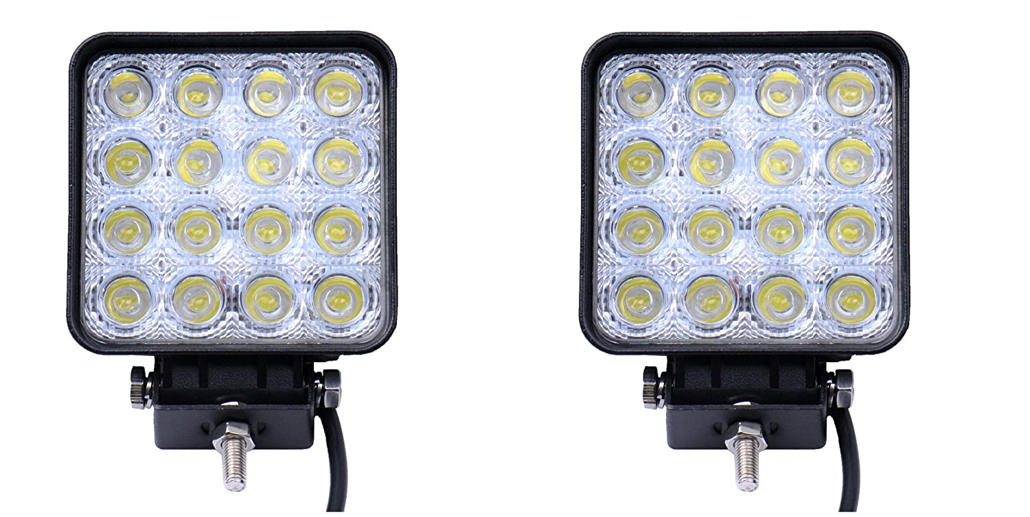Topautolight 2Pcs 48w Epistar Led Work Light Square Cube Spot Beam Off-Road Driving Lamp for Suv Boat 4X4 Jeep Lamp 4Wd Truck 12V-24V DF-8048-48W