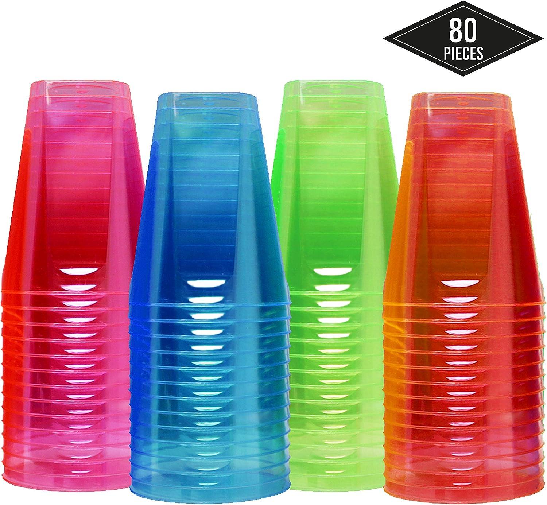 Matana 80 Vasos Desechables de Plástico Duro, Neón 210ml - Desechable o Reutilizable - 4 Colores, Durable y Resistente Cumpleaños, Fiestas, Eventos y Celebraciones.