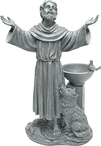 Design Toscano JE14106 St. Francis' Blessing Religious Garden Decor Statue Bath Bird Feeder