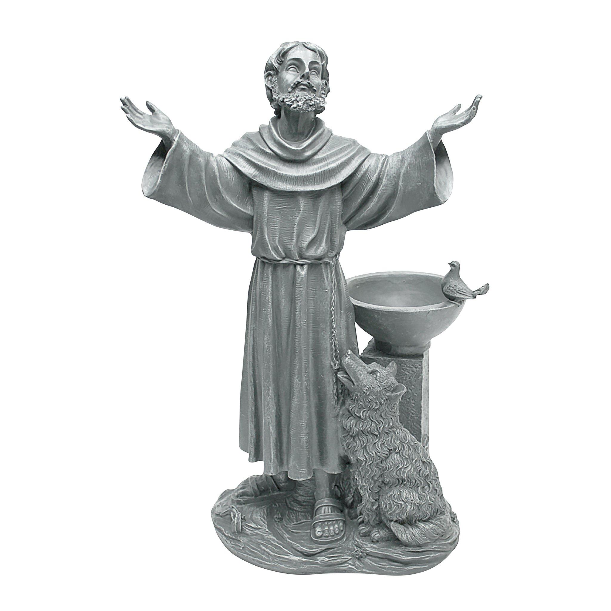 Design Toscano JE14106 St. Francis' Blessing Religious Garden Decor Statue Bath Bird Feeder, 19 Inch Greystone