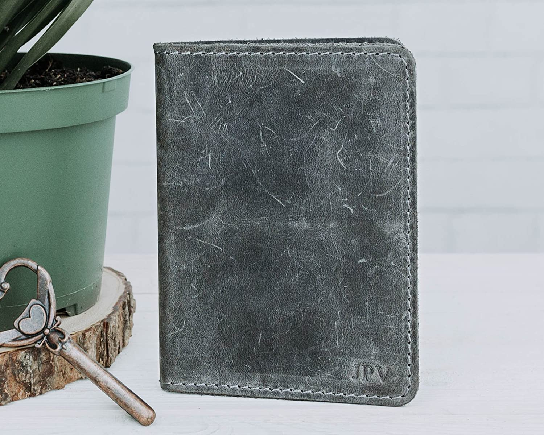Pegai Personalized Passport Wallet, Distressed Leather Travel Wallet, Passport Holder, Passport Cover - Pike | Rock Gray