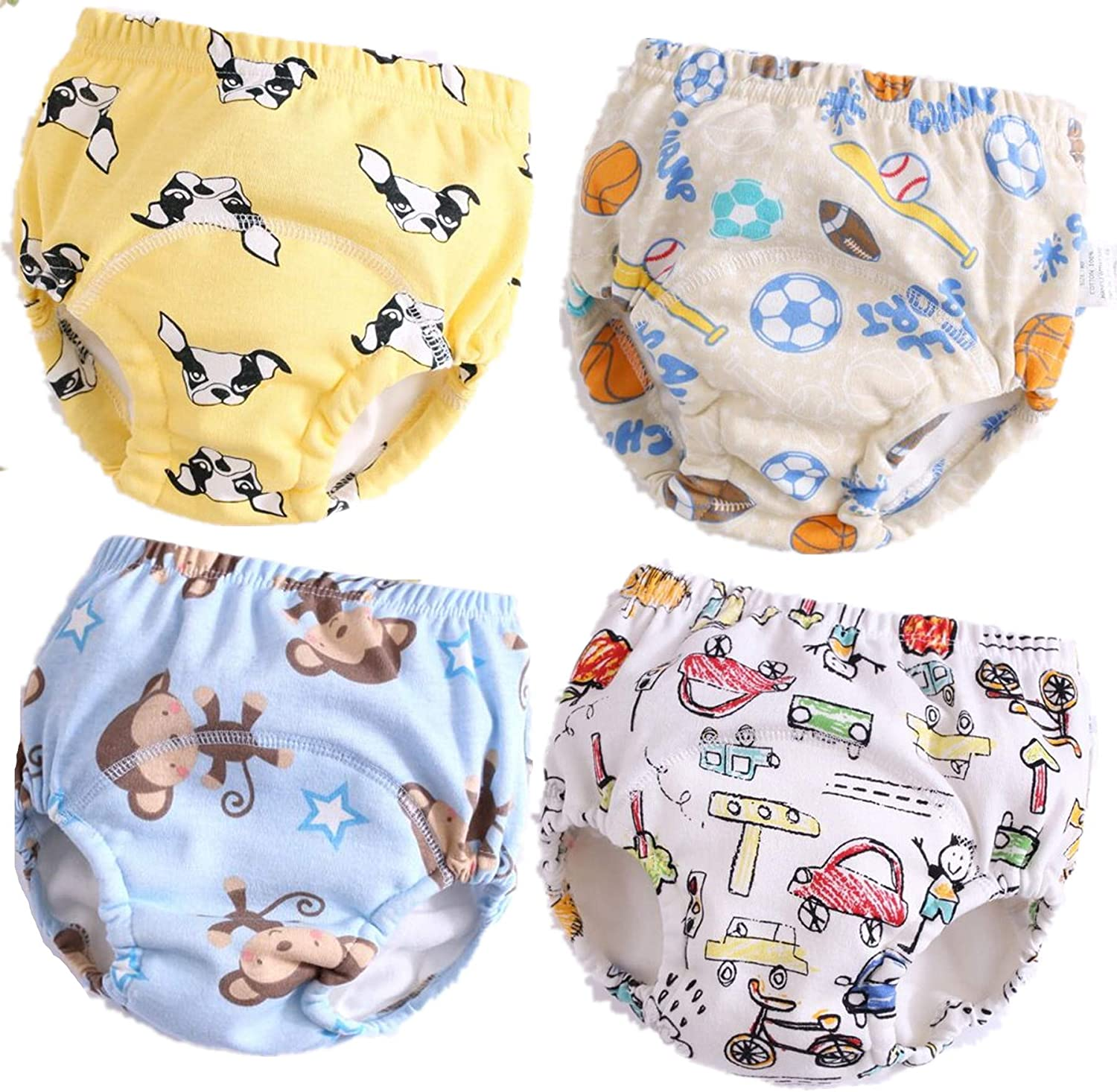 B, 4T Baby Cotton Training Pants 4 Pack Padded Toddler Potty Training Underwear for Girls 12M-4T