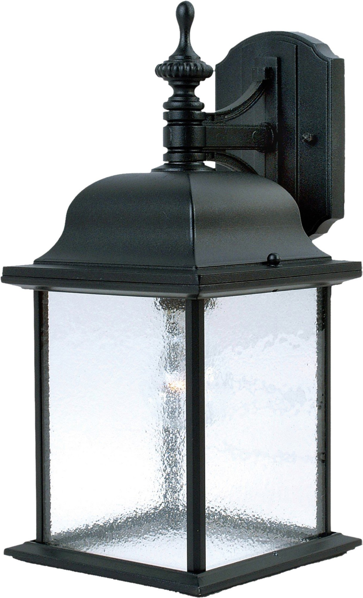 Maxim 1056BK Senator 1-Light Outdoor Wall Lantern, Black Finish, Seedy Glass, MB Incandescent Incandescent Bulb , 100W Max., Dry Safety Rating, Standard Dimmable, Glass Shade Material, 5750 Rated Lumens