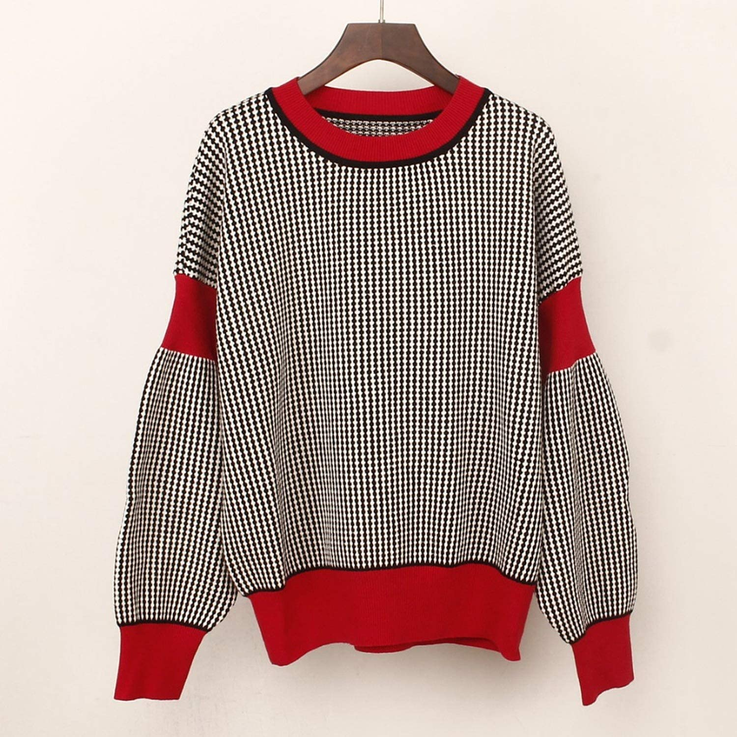 Striped Women Sweater Thick Lantern Sleeve Knitted Pullover Sweater Loose Jumper,Blue,One Size