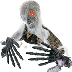 Halloween Haunters Animated Skeleton Groundbreaker with Moving Head & Arms Graveyard Prop Decoration - Scary Howls, LED Eye - Battery Operated