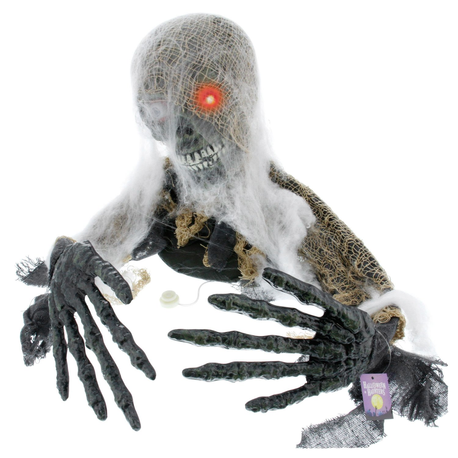 Battery Operated Creepy Zombie Animated Moving Eyes Sounds Halloween Prop Décor