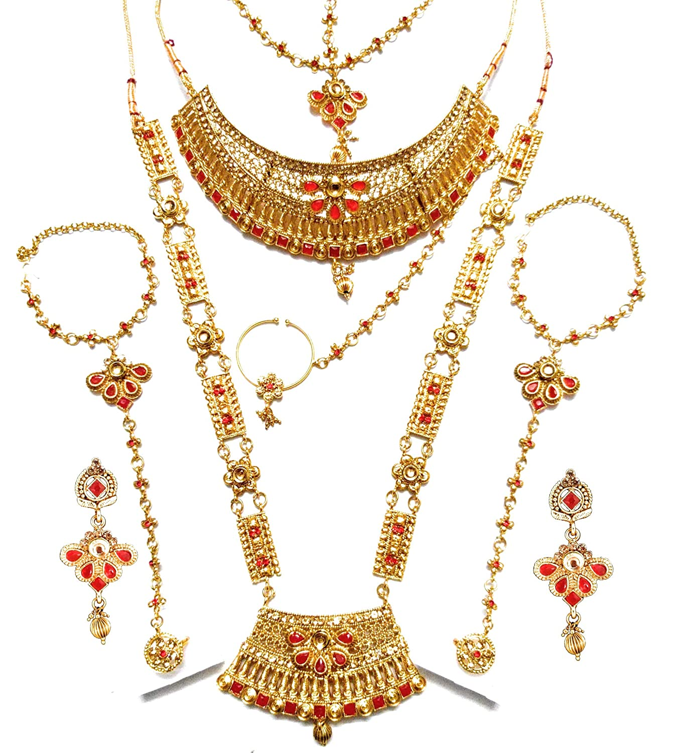 d289700f5df8 Buy NMJ 8 Piece Red Gold-Plated Bridal Jewellery Set for Women Online at  Low Prices in India
