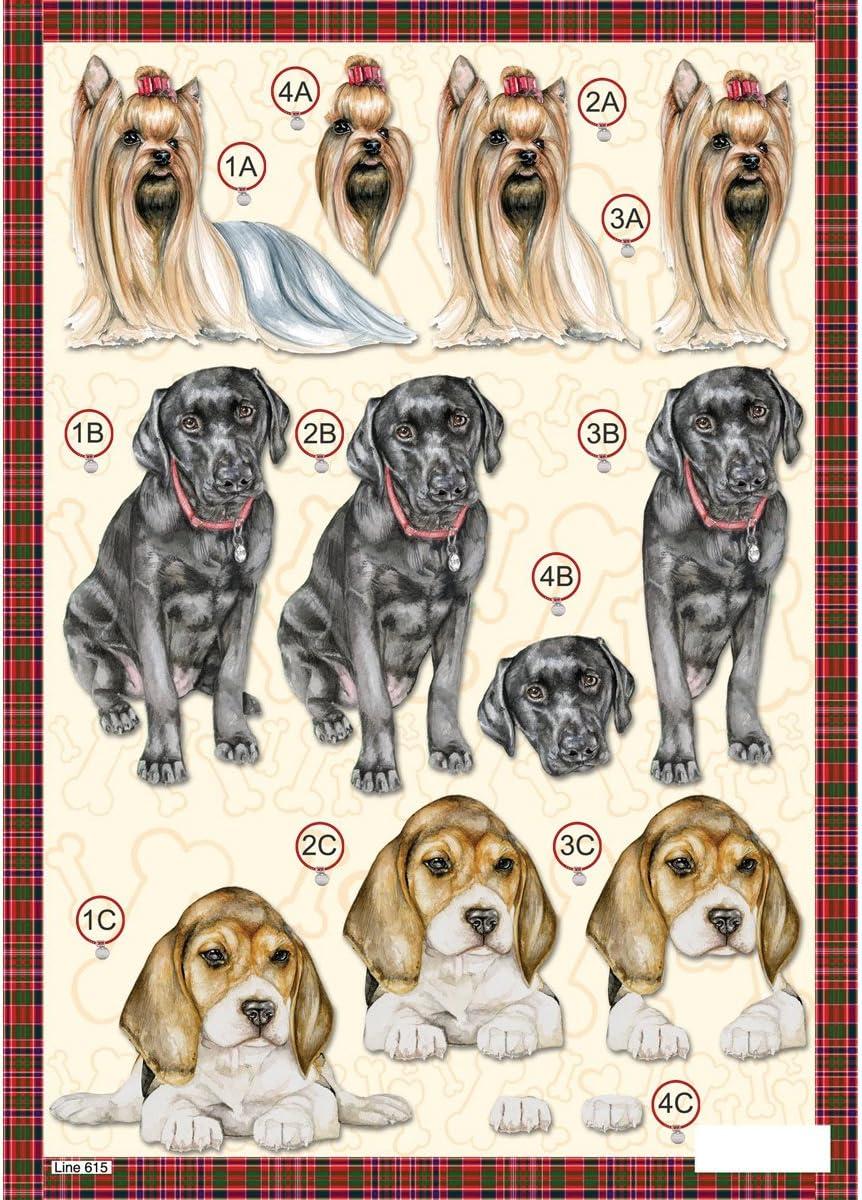 3D Die-Cut Decoupage Sheet 8.3X11.69-Labrador Dogs